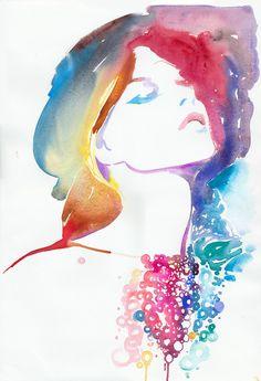 Watercolour Fashion Illustration  modelink13 by silverridgestudio, $200.00