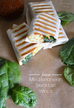 Freezer Mediterranean Breakfast Wraps- a hot breakfast on-the-go