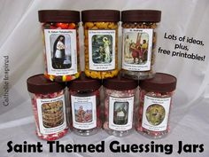 Saint Themed Guessing Jars {Free printable labels and more!} - great idea for All Saints Day. Catholic Schools Week, Catholic Religious Education, Catholic Crafts, Catholic Religion, Catholic Kids, Catholic Saints, Catholic Homeschooling, Saints Game, All Saints Day