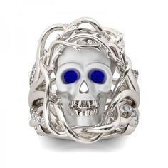 Jeulia 3PC Twist Round Cut Sapphire  Skull Ring