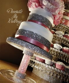 Crystal Cake Stands & Cupcake Stands - MANY beautiful designs (oh my! Diy Wedding Cake, Wedding Cake Stands, Wedding Cakes With Cupcakes, Wedding Decorations, Wedding Trees, Wedding Bells, Wedding Stuff, Cake And Cupcake Stand, Cupcake Cakes