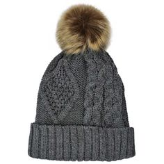 Charcoal Gray Chunky Cable Knit Pom-Pom Hat With Fleece Lining ($18) ❤ liked on Polyvore featuring accessories, hats, grey, skull beanie, beanie cap hat, rolled brim hat, wide brim hat, flat brim cap and flat brim hats