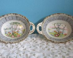 2 Vintage Silver Birch Oval Candy Dishes by Royal Albert England -  Discontinued Fine Bone China 2 sets available