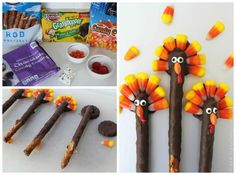 Turkey Pretzels - Thanksgiving Kids Food Craft