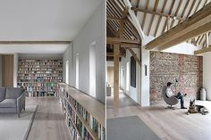 Oxford barn conversion - soft contemporary shades, clean white space, exposed brick and beams