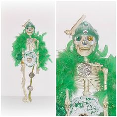 Lucky One Legged Skeleton Art Doll St Patrick's Skull & Bones Day Of The Dead EerieBeth Skelly Green Gold Boa St Pattys Party Goth Skeleton by ICreateAndCollect on Etsy