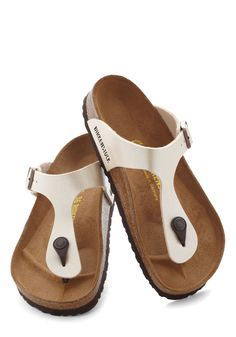 Landscape Consultation Sandal. Before you get to work revamping your newest customers landscape, pay her yard a visit while wearing these comfortable Birkenstock thongs! #white #modcloth
