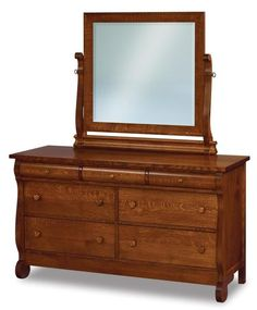 "Amish Old Classic Sleigh 58"" Seven Drawer Dresser with Optional Mirror Sleigh-like and solid, this wood dresser has an old fashioned look with its curves and rounded edges. Offers lots of storage and the matching mirror tops it off nicely! Built in choice of wood and stain. #bedroomdresser #woodbedroomfurniture #Amishfurniture"