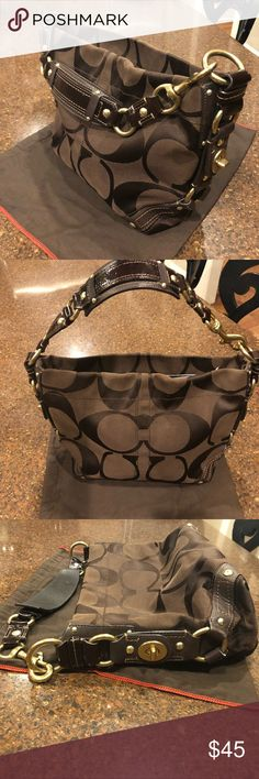 """Brown Carly Coach Bag ✨Authentic Carly Coach Handbag✨ ✨Classic chocolate brown with gold hardware, leather accents, zipper pull top and purple silky lining ✨About 9"""" tall and 13"""" wide ✨In excellent used condition. Some very minor scuffs on hardware and underside of strap (pictured) and several very small, light marks on lining (pictured) Coach Bags Shoulder Bags"""