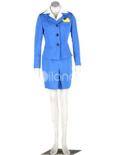 Airhostess Uniform Blue 65% Cotton 35% Polyester Cosplay Costume. If your dreams of being an airhostess never got off the ground, you can still look the part with this great costume. It features a crisp white button up shirt with long sleeves and  turndown collar. A handsome blazer with a .. . See More School Uniform at http://www.ourgreatshop.com/School-Uniform-C874.aspx
