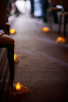 My Ceremony Decor.  November (fall) wedding). So lots of leaves and candles #weddingdecor #weddingcandles #fallwedding #storybookwedding