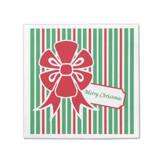Red Bow Christmas Party Paper Napkins - retro kitchen gifts vintage custom diy cyo personalize