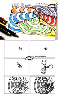 OP-ART – in Black Pen and Colored Pencils