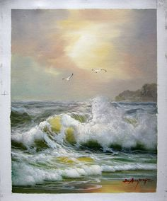 "16"" by 20"" - Seascape - Seawave - Nr.107 - Museum Quality Oil Painting on Canvas Art by Artseasy on Etsy"
