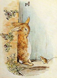 Illustration from the classic children's story The Tale Of Peter Rabbit, by Beatrix Potter Coelho Peter, Beatrix Potter Illustrations, Lapin Art, Beatrice Potter, Peter Rabbit And Friends, Rabbit Photos, Bunny Art, Children's Book Illustration, Pulp Fiction