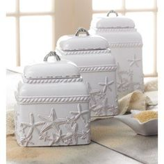 Genial These White Ceramic Canisters Are A Perfect Accent To A Beach Themed House.  #Beachcottagestyle