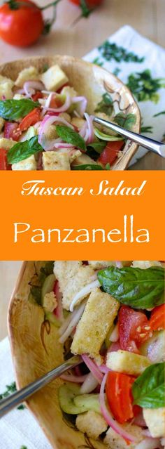 Panzanella is a traditional summer salad from Tuscany that typically includes soaked bread, tomato, onion, cucumber and basil.