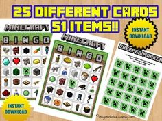 MINECRAFT BINGO. Minecraft printable bingo  http://partyprintable.weebly.com/  Minecraft printable decoration, Minecraft birthday party decoration, Minecraft gifts, Minecraft invitation, Minecraft, Minecraft creeper, Creeper decoration, Minecraft digital file, Minecraft free decoration, minecraft printables, minecraft food, minecraft stickers, creeper printables