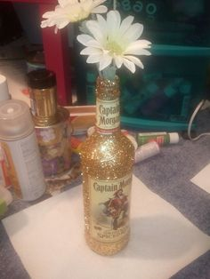 Captain bottle with glitter so cute. Mod podge