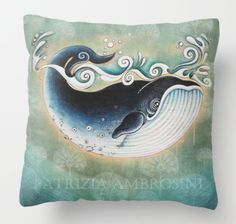 New Pillow  the Blue Whale .  PRINT animal by happyapplebumblebee