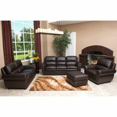 Costco: Kingsbury 4 Piece Leather Set · Living Room ...
