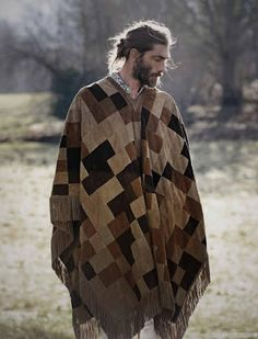 Patrick Petitjean Delivers Long Hairstyles for Elle Man Mexico June 2015 Cover Shoot, click now for more. Cover Shoot, Mens Poncho, Bohemian Men, Hippie Men, Boho Gypsy, Mode Man, Boho Fashion, Mens Fashion, Style Fashion