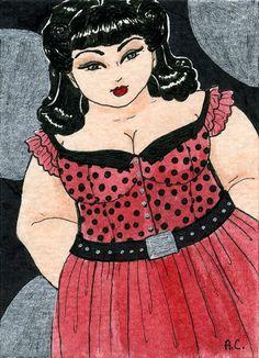 Red Polka Dots 5x7 art print Fat Girl BBW