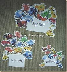 FREE!!!  5 pages - Bob the Builder CONSTRUCTION vehicles////SIZE SORTING AND SEQUENCING -