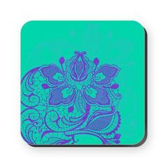Purple and Teal Lace Square Coaster    Beautiful, elegant lacy design in fantastic colors  $5.69