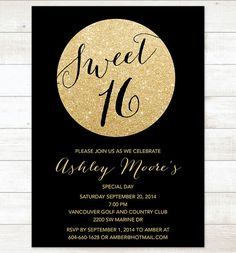 black gold sweet 16 birthday invitation by pinkdahliaprintable