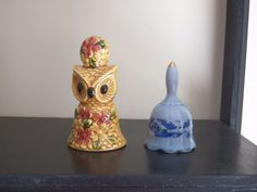 Lot of 2 Ceramic Bells Blue and White Bell & Owl Bell Cute 3-4 inches tall