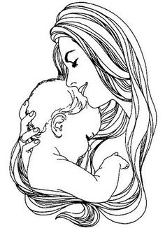 mother and baby Simple Line Drawings, Love Drawings, Drawing Sketches, Art Drawings, Mommy Tattoos, Baby Tattoos, Body Art Tattoos, Mother And Baby Tattoo, Cross Stitch Silhouette