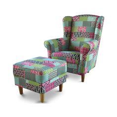 relaxační křeslo ušák Astrid, s taburetem, látka Patchwork M1 Armchair, Sweet Home, Vintage, Furniture, Home Decor, Decorations, Scrappy Quilts, Womb Chair, Homemade Home Decor