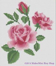3 Pink Roses  Cross Stitch Pattern
