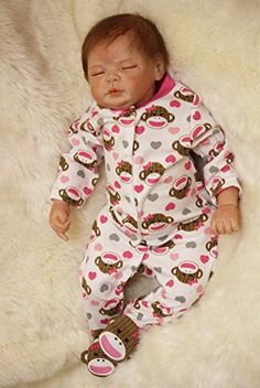 OtardDolls Reborn Baby Dolls Lifelike Realistic Sleeping Boy Soft Vinyl Children Gifts Age 3+ Black Flow Skirt