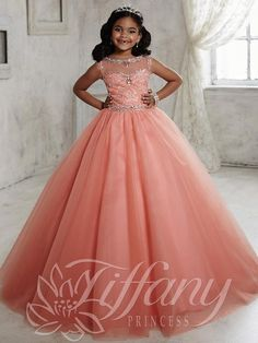 2016 Coral Girls Pageant Dresses Jewel Neck Crystal Beaded Princess Long Tulle Cap Sleeves Kids Flower Girls Dress Birthday Communion Gowns Girls Chiffon Dresses Girls Dressed From Yes_mrs, $79.4| Dhgate.Com