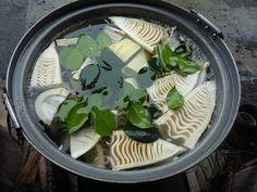 竹の子の美味しい水煮の方法 大鍋で、水からゆがく。  椿の葉っぱを入れると、アクが抜ける。サザンカでも良い。 葉っぱの色が緑色から茶色に変わる。   たぎってから、火を弱めて、10分ぐらい湯がく。(取り立てでない竹の子は20分ぐらい湯がく) 先のほうの柔らかい部分を先に取り出して、水で冷やす。根元の固い部分は、そのまま、しばらく湯がく。20分ぐらい。取り出して、水で冷やして出来上がり。