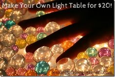 DIY Light Table- great for sensory activities. This one requires a clear storage box and Christmas white lights!