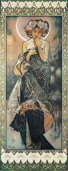 Titre de l'image : Alphonse Mucha - The Moon and the Stars: The Moon