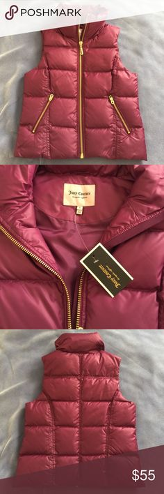 NWT [Juicy Couture] Royal Magenta Puffer Vest - S BRAND NEW, never worn. Gorgeous magenta color with gold hardware. 50% down, 50% feather. Juicy Couture Jackets & Coats Vests