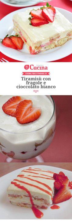 Tiramisù con fragole e cioccolato bianco Tiramisu Dessert, Pie Dessert, Oreo Cheesecake, Italian Desserts, Pain, Yummy Cakes, Vanilla Cake, Bakery, Food And Drink