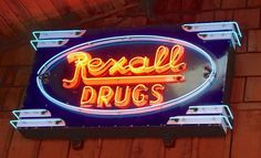 Rexall Drugs Porcelain Neon Sign