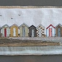 beach parade Freehand Machine Embroidery, Free Motion Embroidery, Machine Embroidery Applique, House Quilts, Fabric Houses, Fabric Art, Fabric Crafts, Embroidery Materials, Sewing Cards