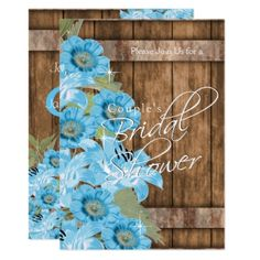 #wood - #Baby Blue Flowers on Rustic Wood - Invitation