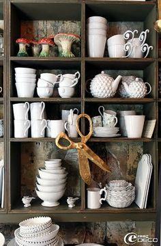 Cool tea cups, mugs and cute bowls. #kitchen #display #shop #mushroom