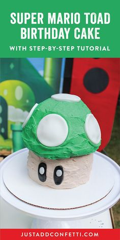 This Super Mario Toad Birthday Cake is as adorable as it is delicious! Made from a giant cupcake pan, this carved cake is actually quite easy to make! Just follow this step-by-step tutorial to bake and decorate this Super Mario birthday cake in no time!