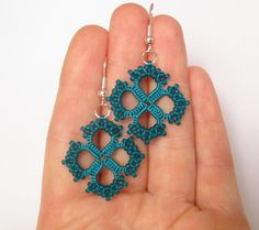 Teal Tatted lace earrings with glass beads Teal jewelry Deep turquoise earrings…