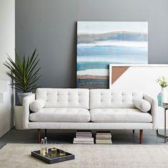 "Monroe Mid-Century Leather Sofa (80"")"