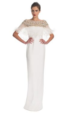 Silk Crepe Column Gown With Pleated Organza Cape by Marchesa