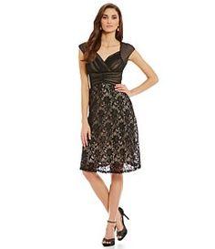 Sangria Illusion Lace Midi Fit-and-Flare Dress